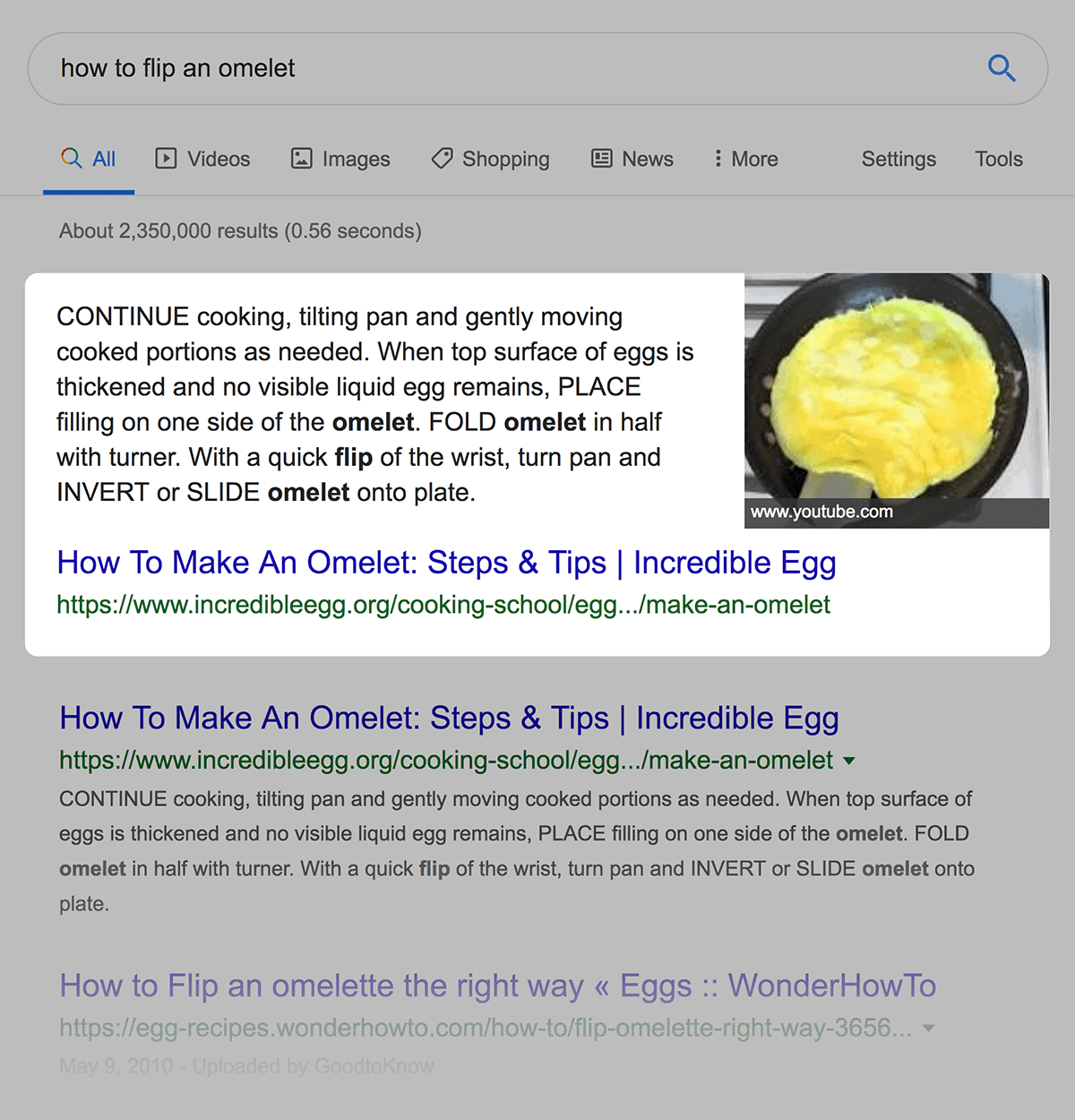 Featured Snippet pushes organic results down