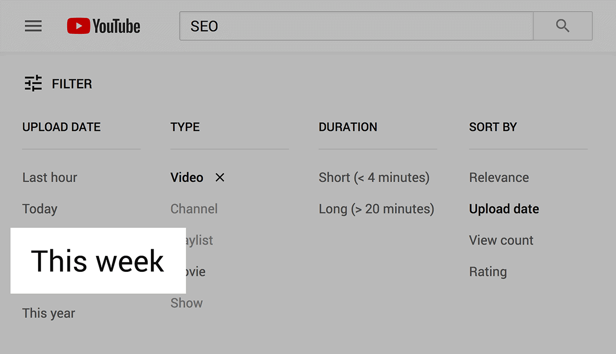 Filter videos by Update Date
