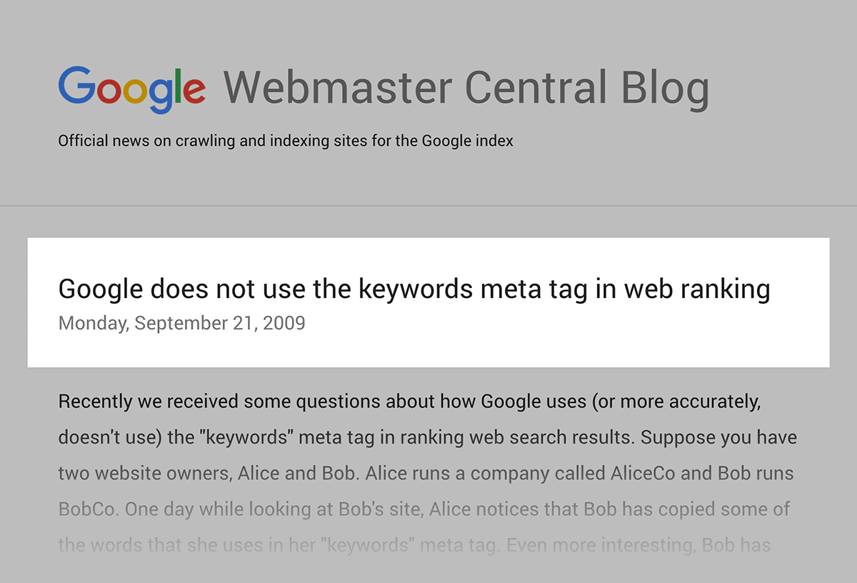 Google does not use the keywords meta tag