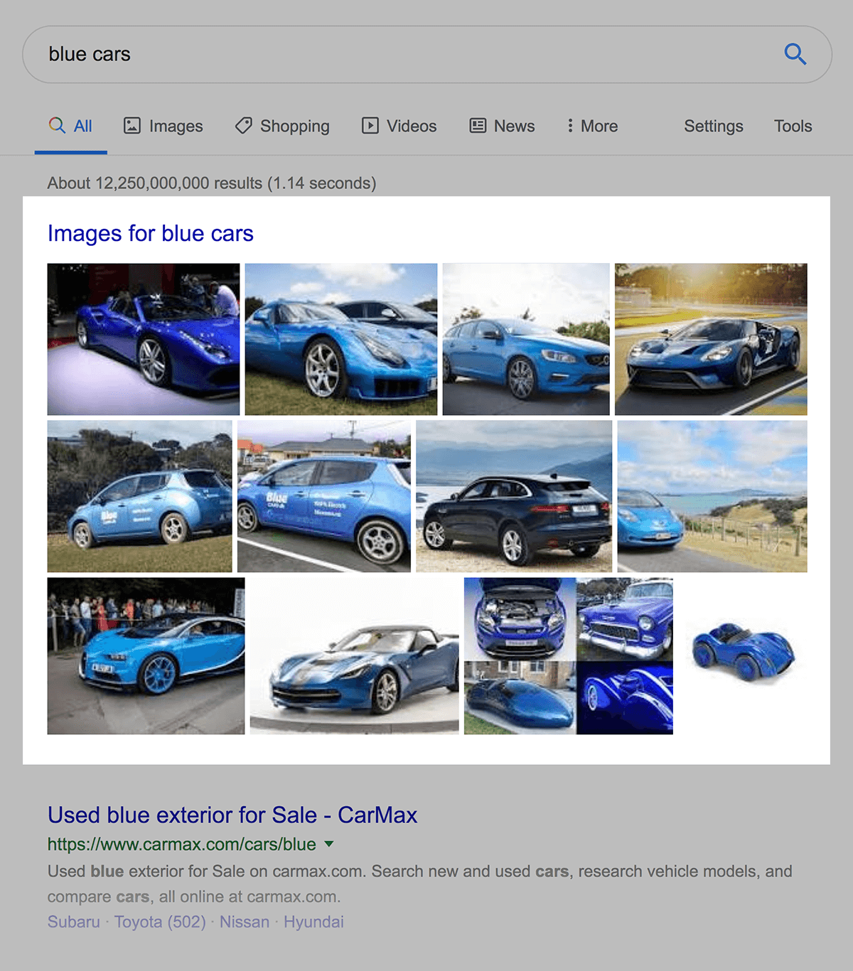 "Google Images result for ""blue cars"""