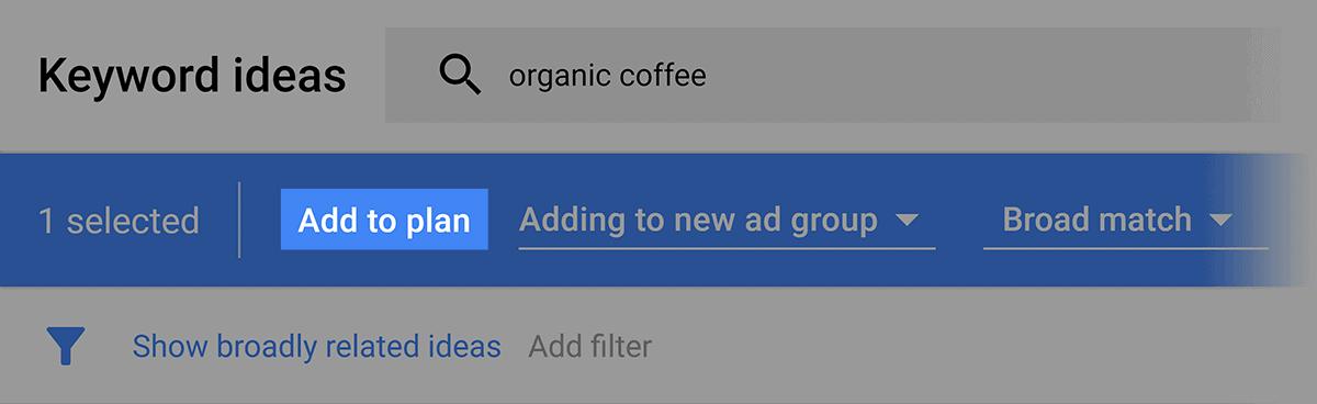 Google Keyword Planner – Add to plan