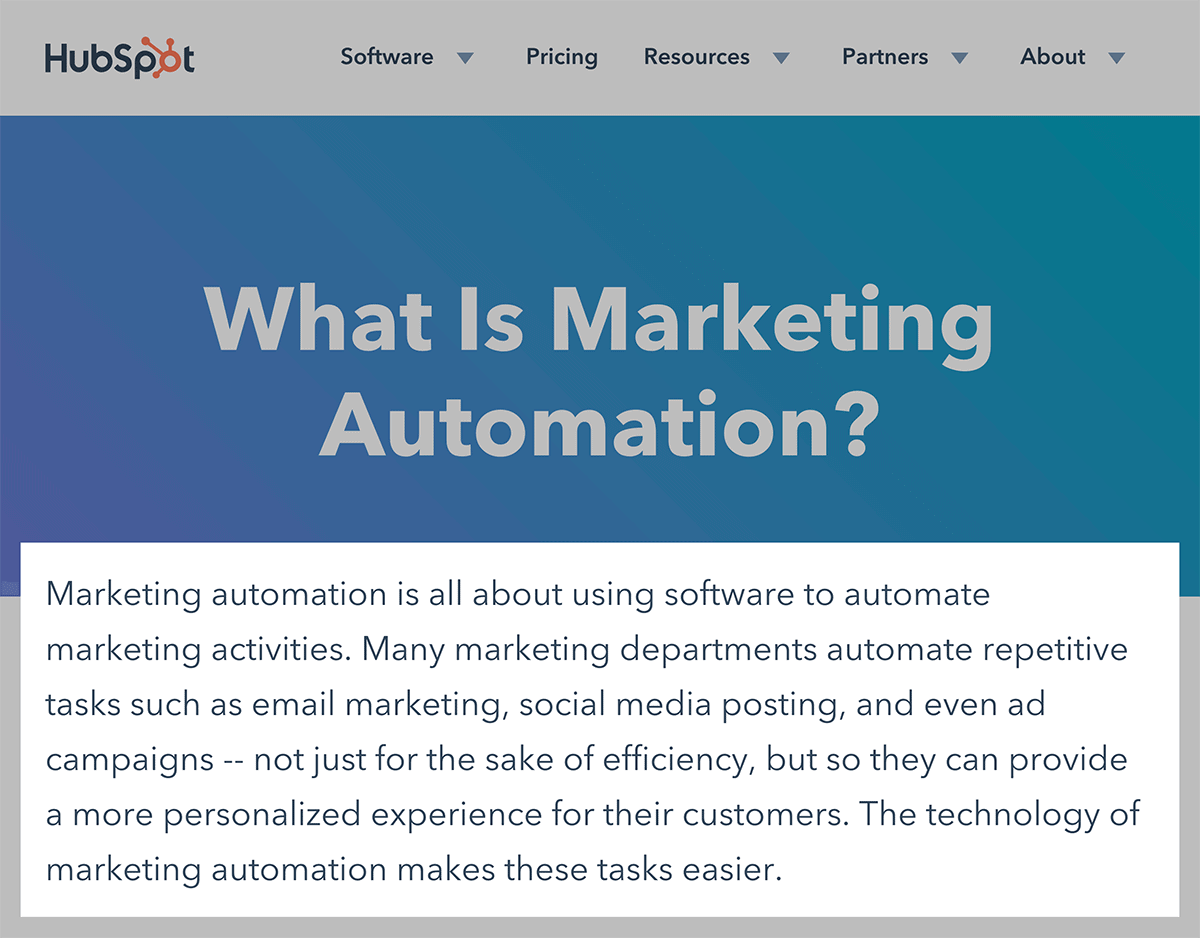 HubSpot – Main definition example