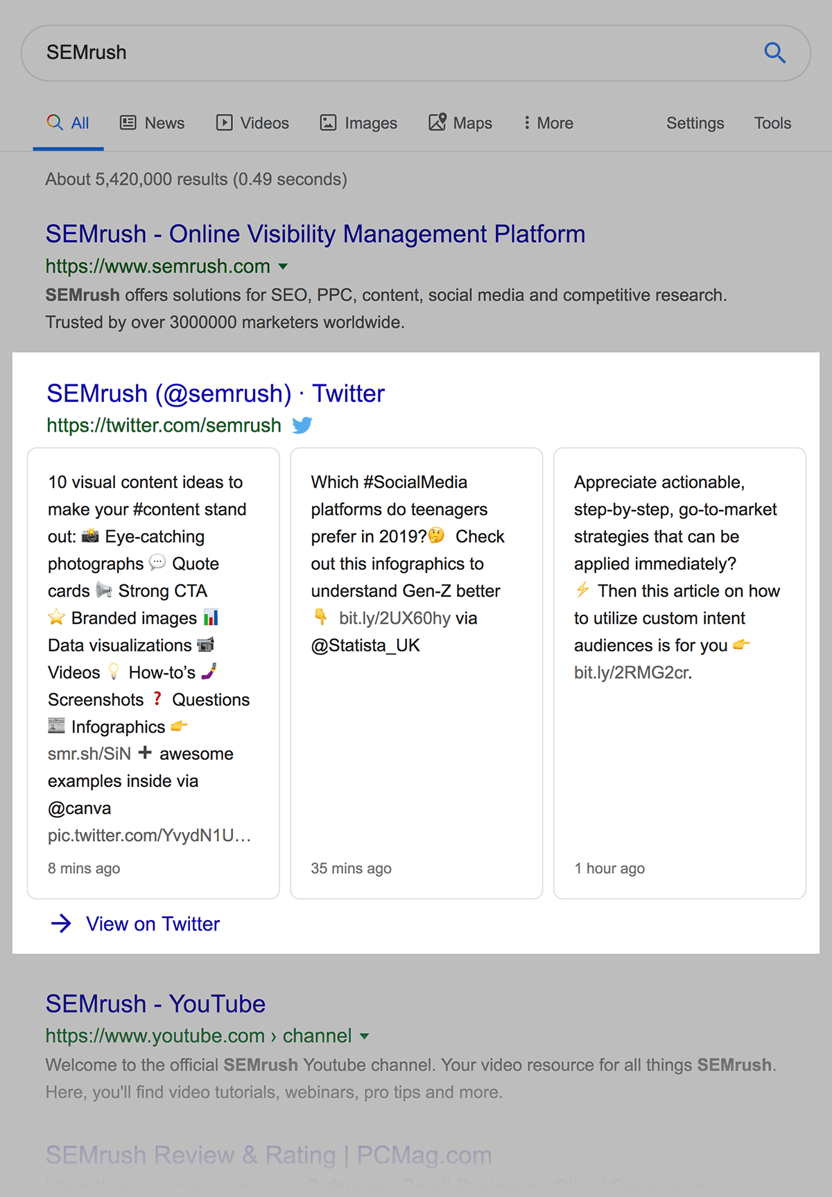 Latest three tweets appear in search results