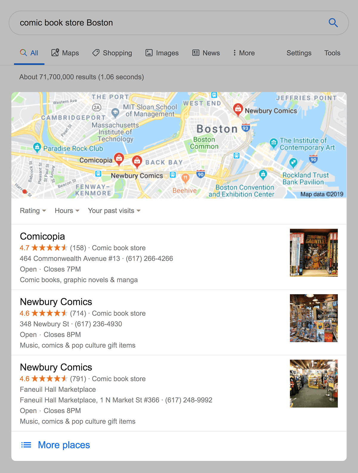 Local Pack SERP example