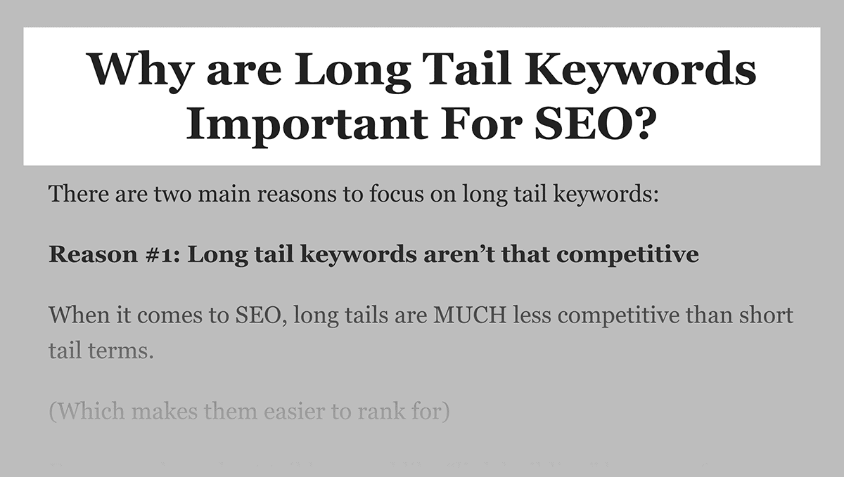 Long tail keywords for Featured Snippets