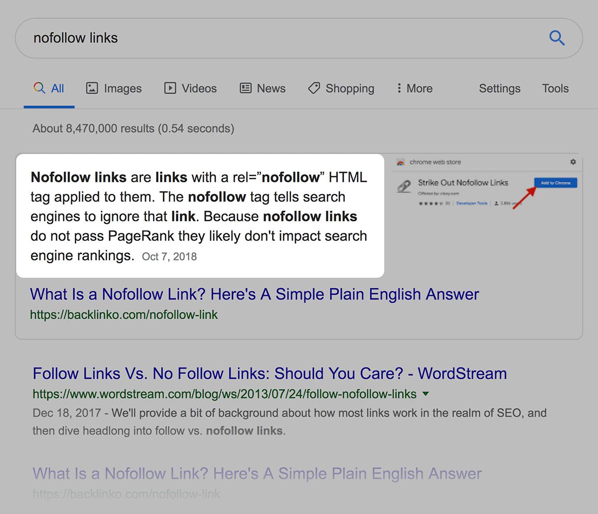 """nofollow links"" definition text"