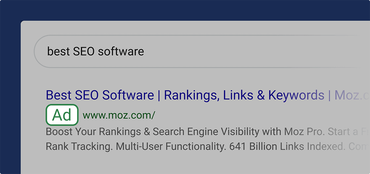 Paid search results' ads