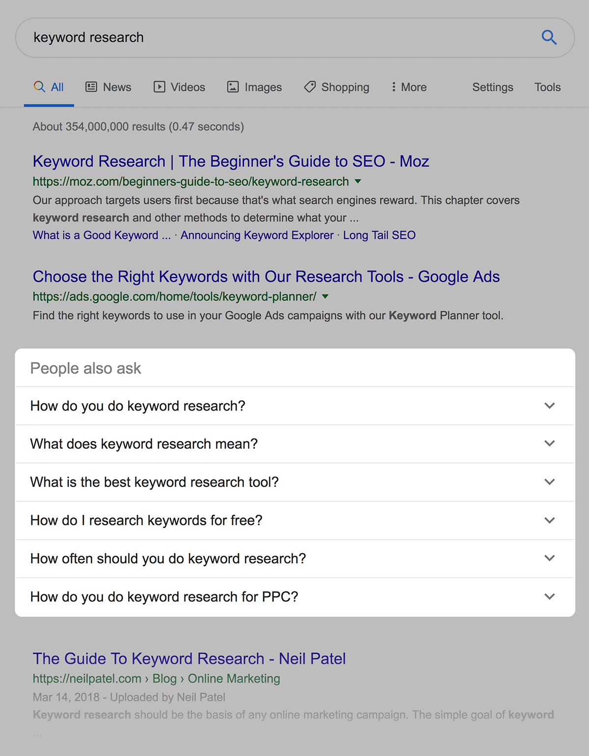 """People Also Ask – """"keyword research"""""""