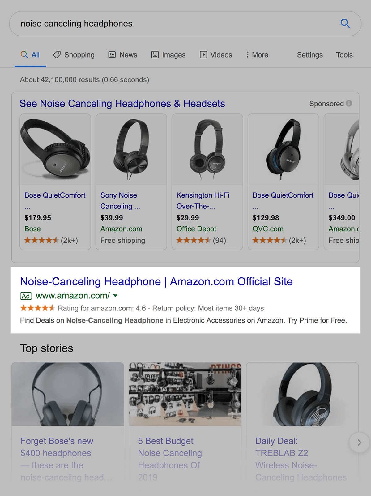 Product Listing Ads above traditional ads
