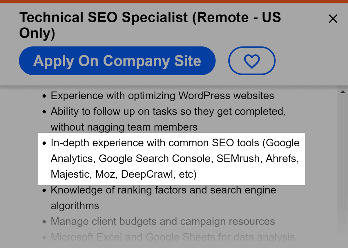 SEO Job listing