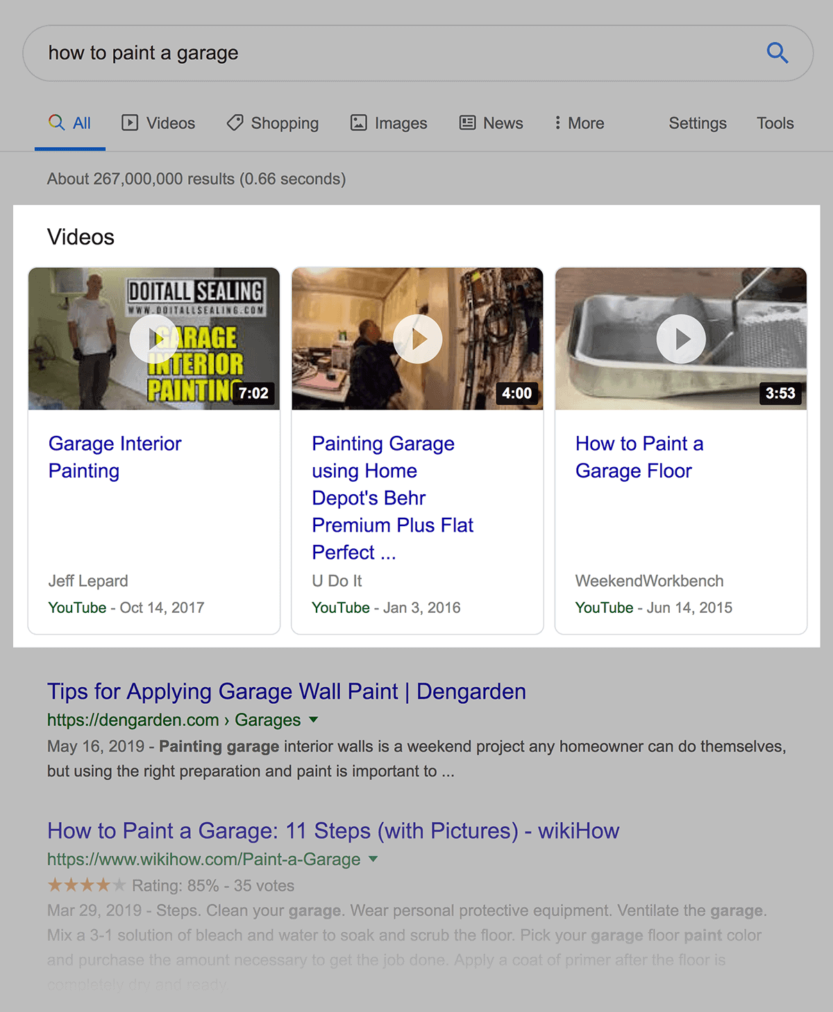 "Video results for ""how to paint a garage"""