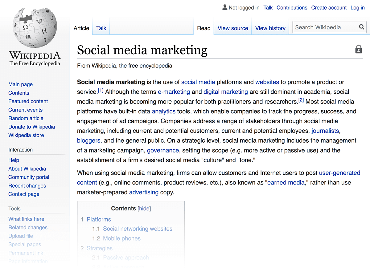 Wikipedia – Social media marketing page