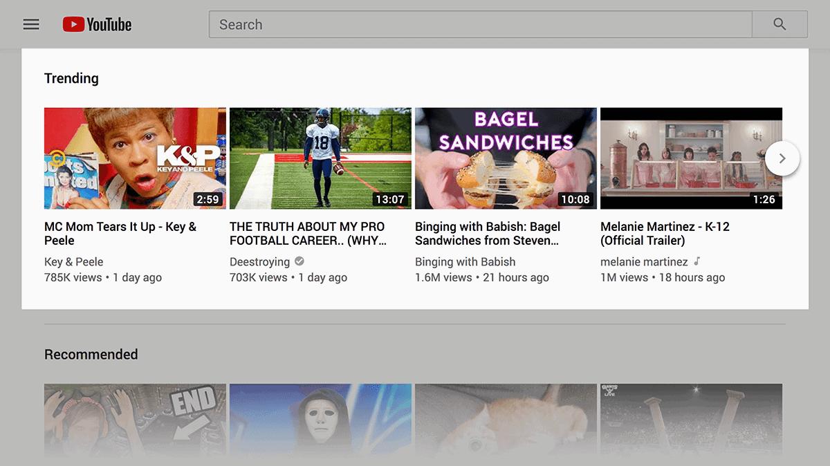 YouTube trending videos