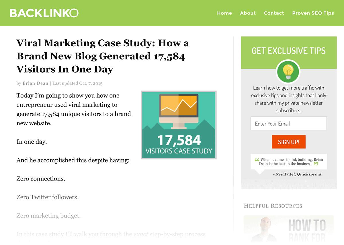Backlinko – Viral Marketing – Old post