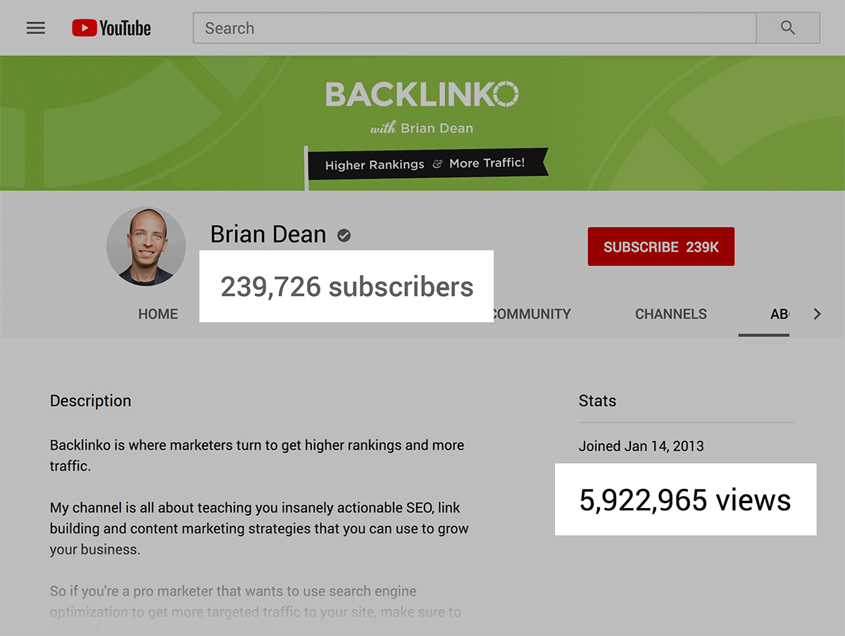 Backlinko – YouTube subscribers and view count