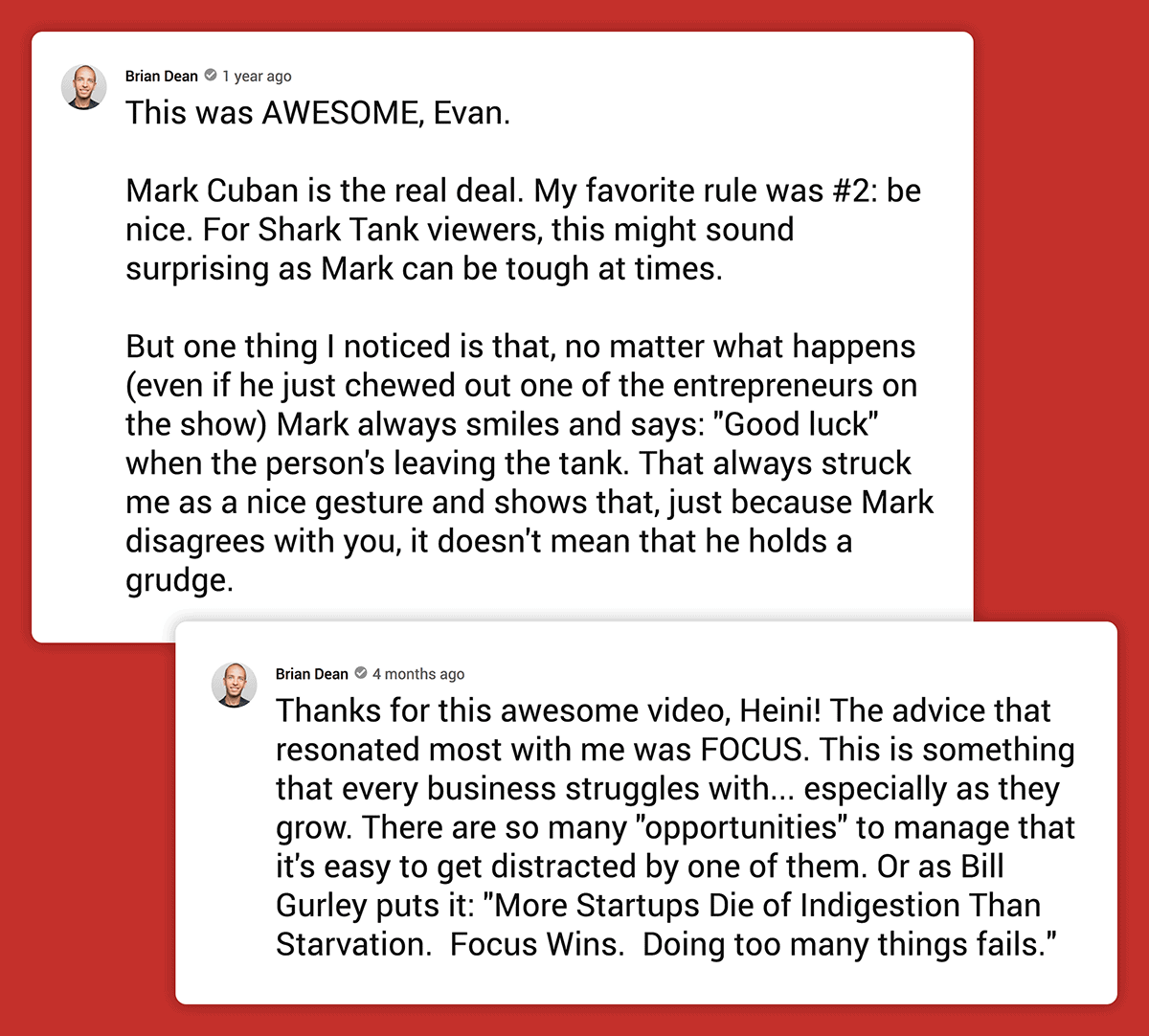 Brian Dean comments on other people's videos