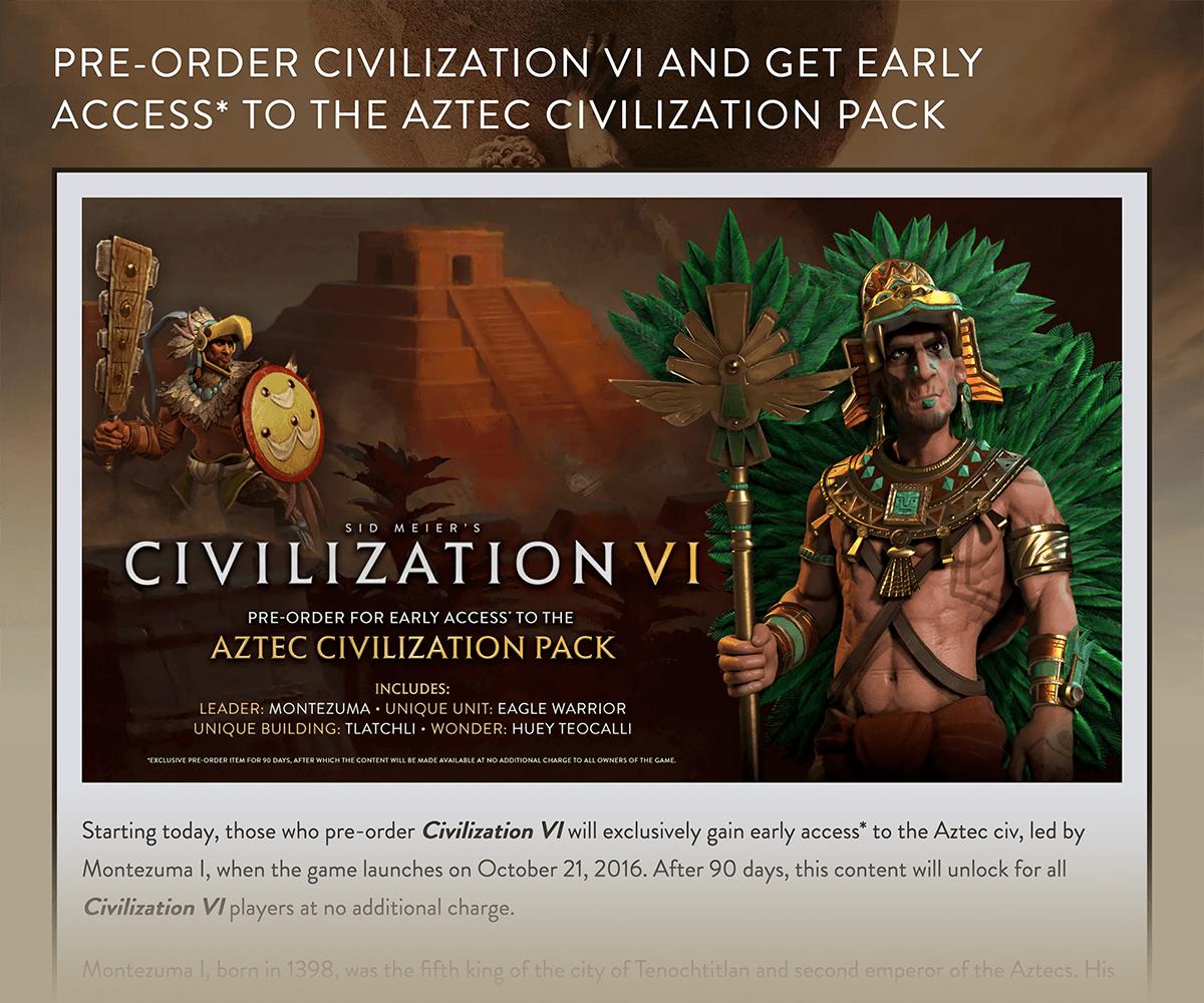 Civilization VI – Pre-order bonuses