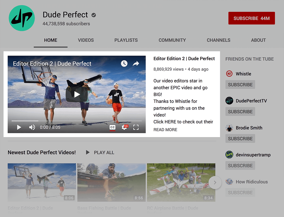 Dude Perfect – Featured section
