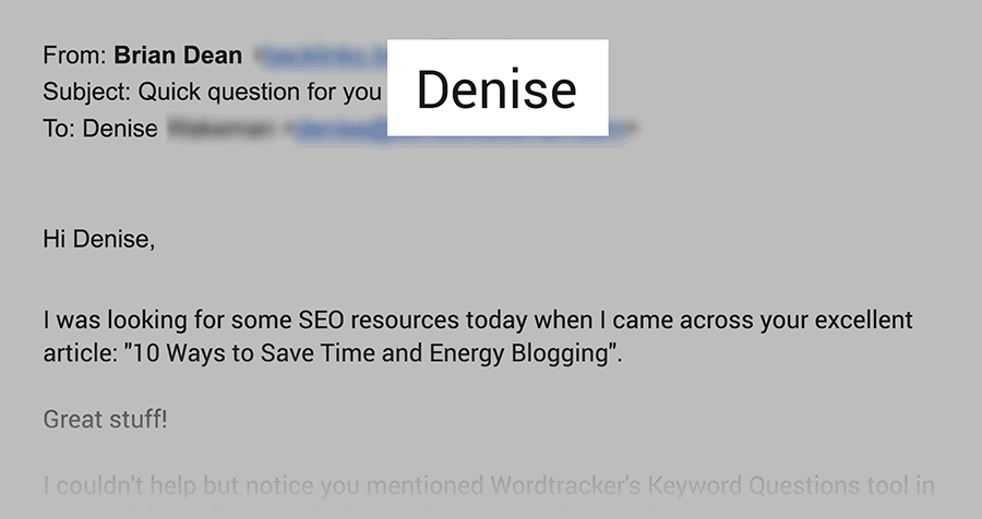 Email subject line uses person's name
