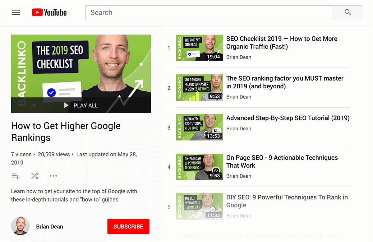"""""""How to Get Higher Google Rankings"""" playlist"""