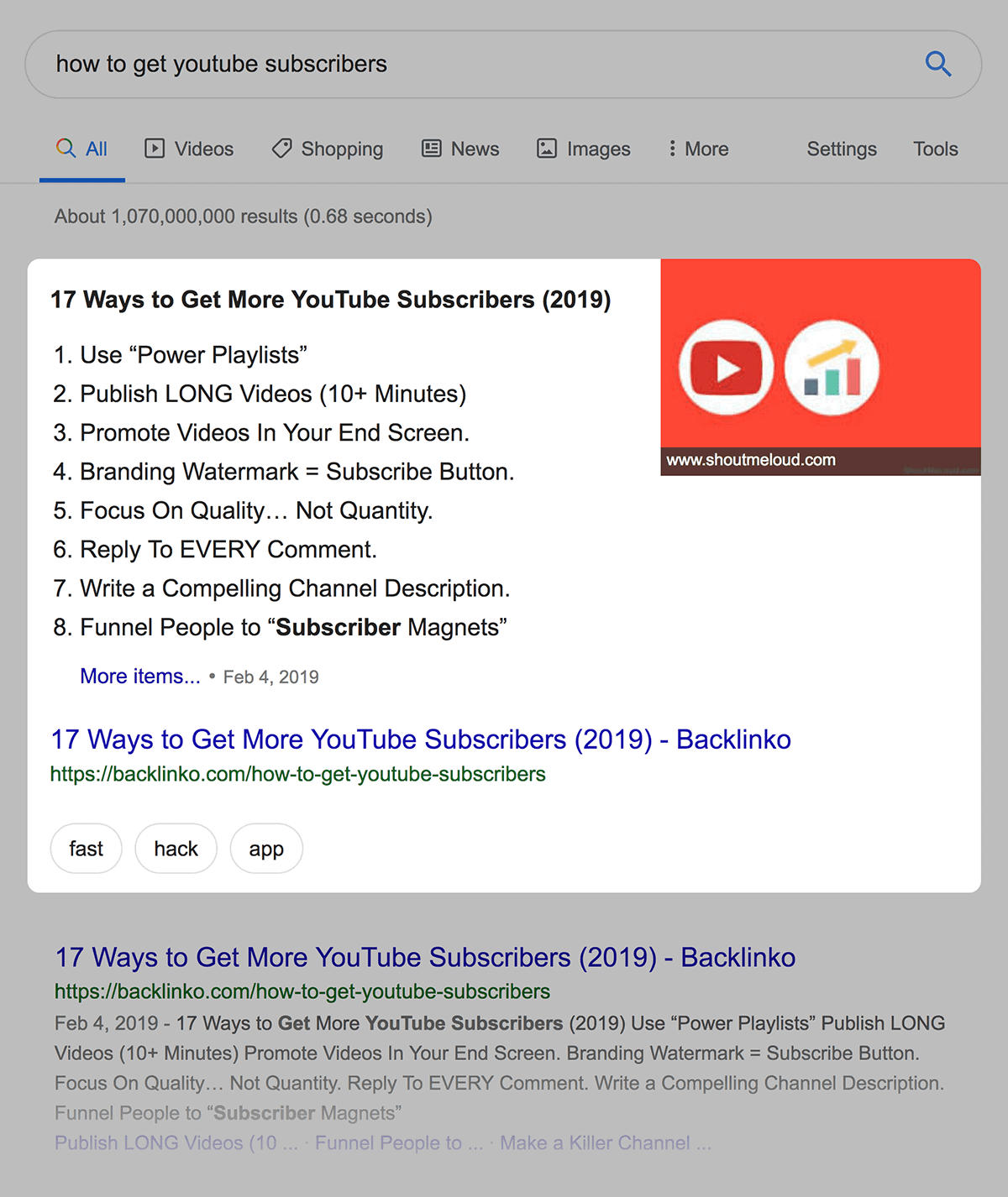 """how to get youtube subscribers"" featured snippet example"