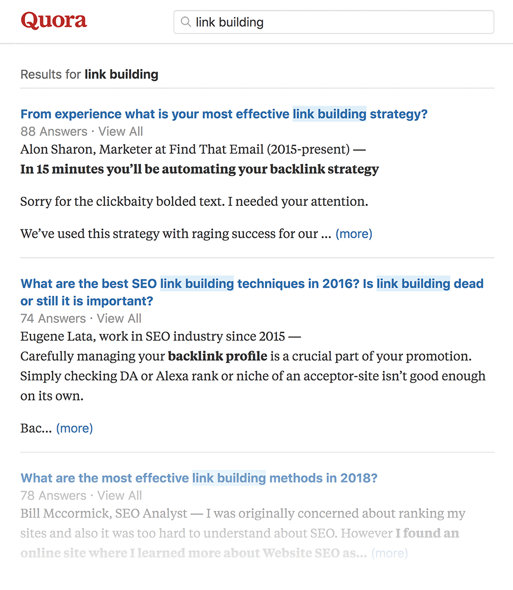 "Quora ""link building"" search"