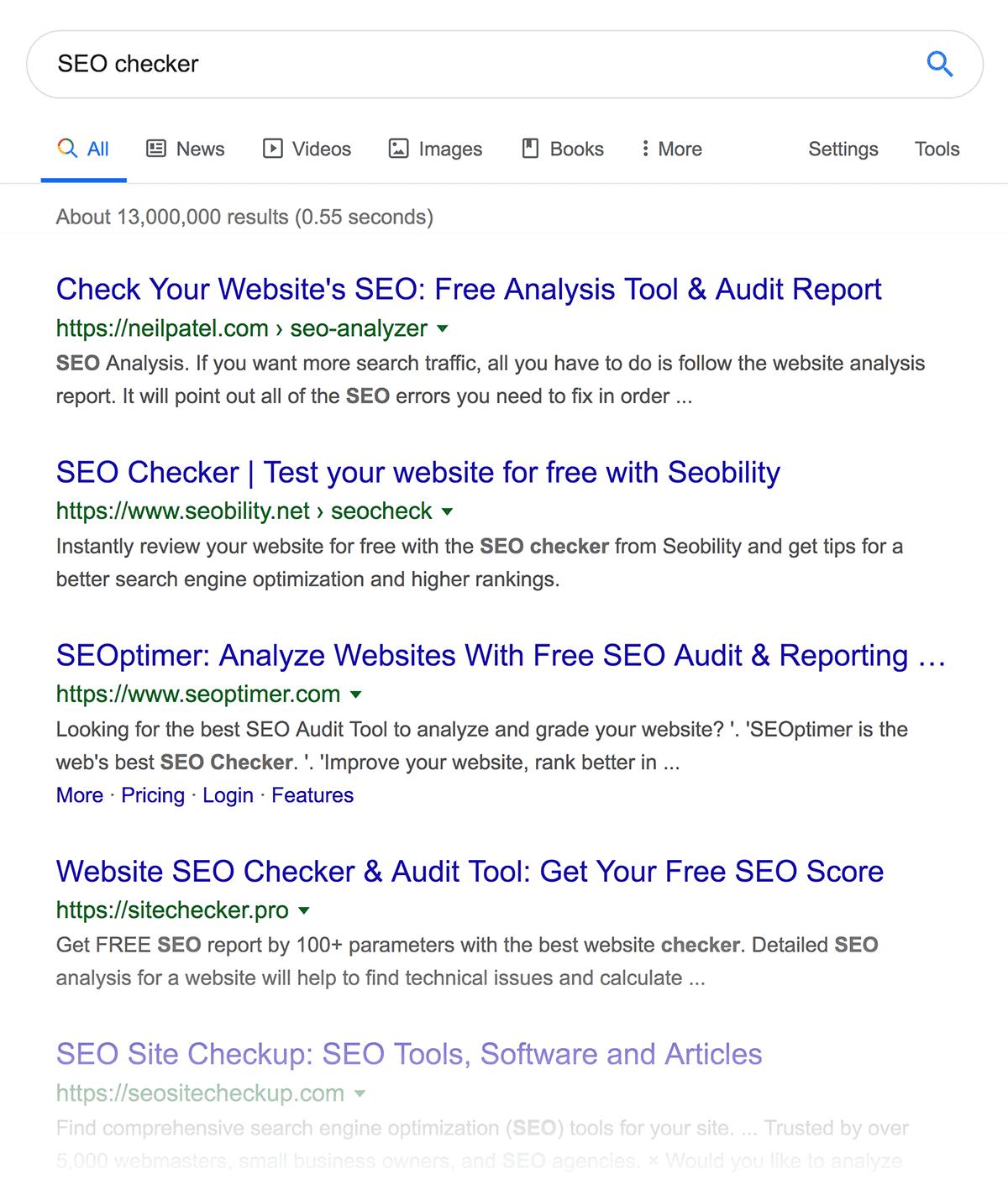 """""""SEO checker"""" search results"""