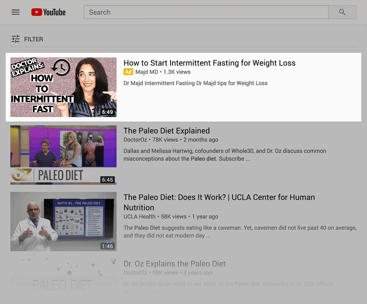 YouTube ad at top of search results