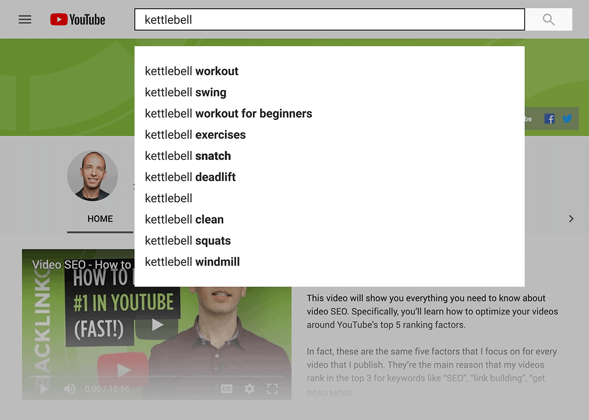 """YouTube – """"kettlebell"""" search suggestions"""