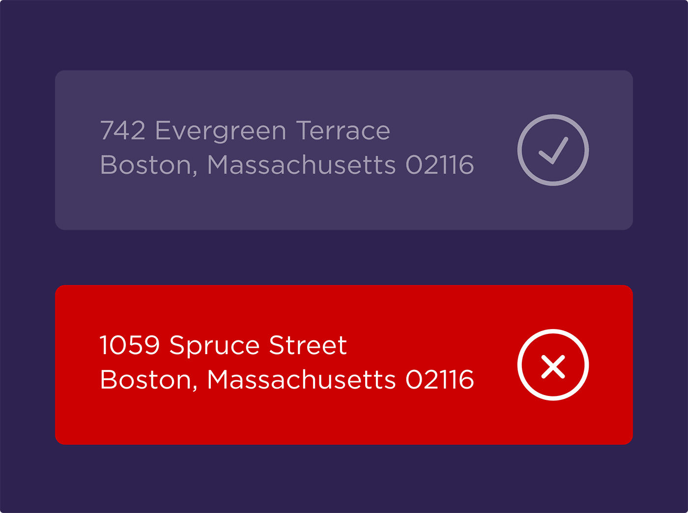 Addresses that do not match will be flagged by Google