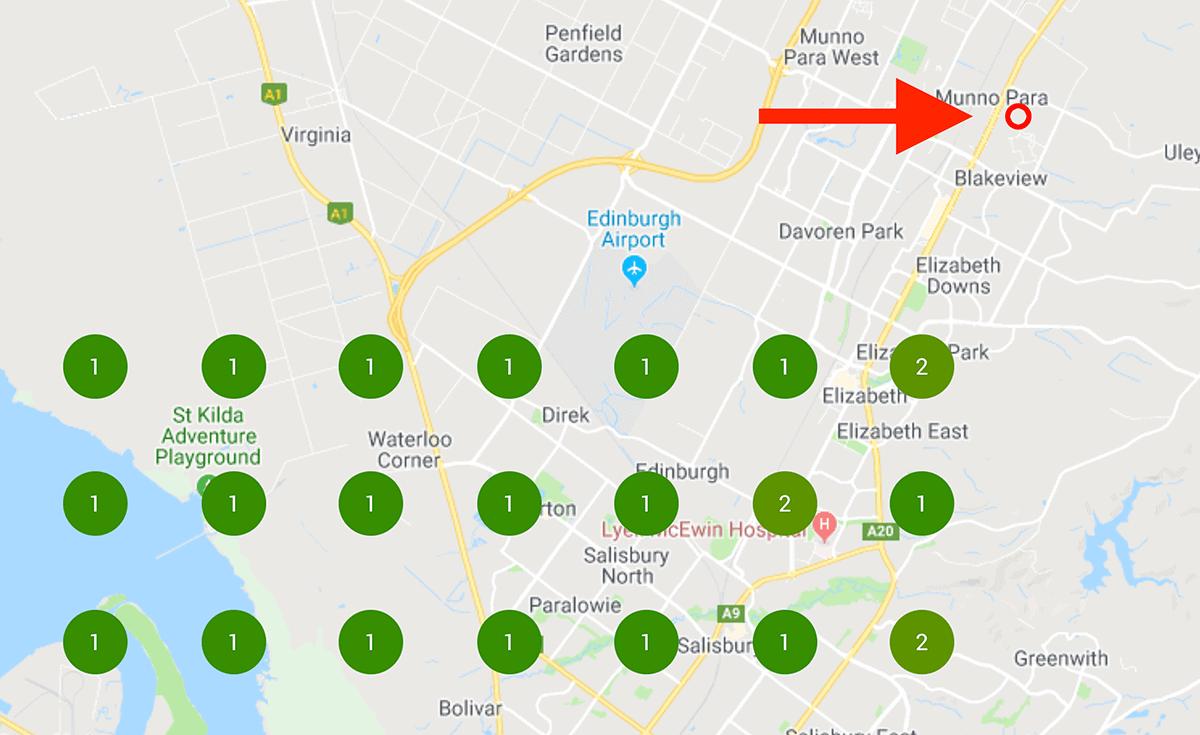 Competitor location on Local Falcon search results