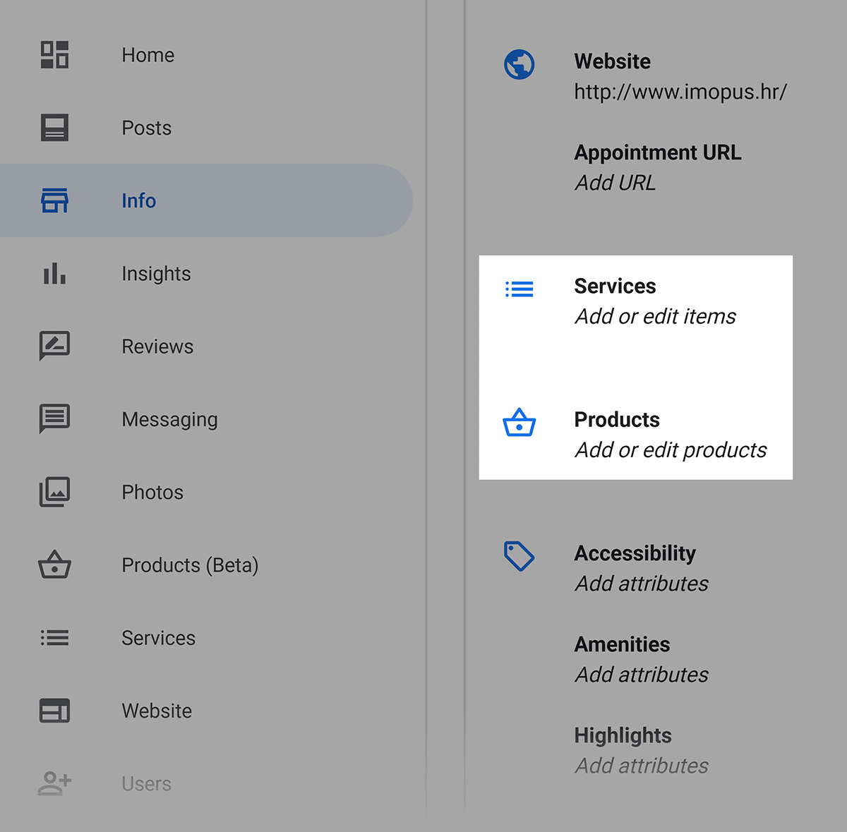 Google My Business – Add services and products