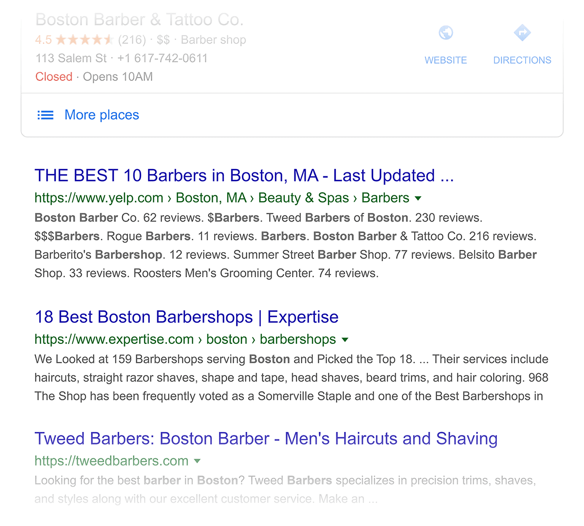 """Google Search for """"barber boston"""" – Normal results"""