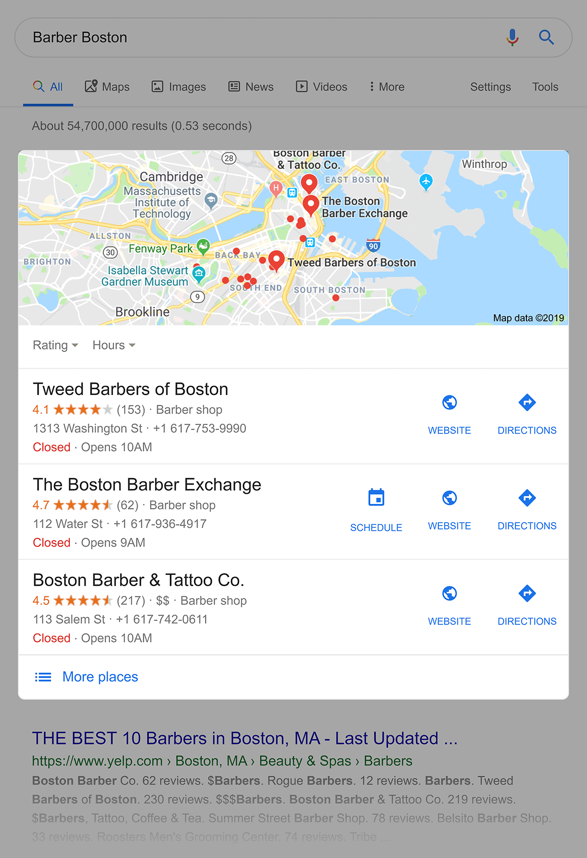 """Google Search for """"barber boston"""" with map pack"""