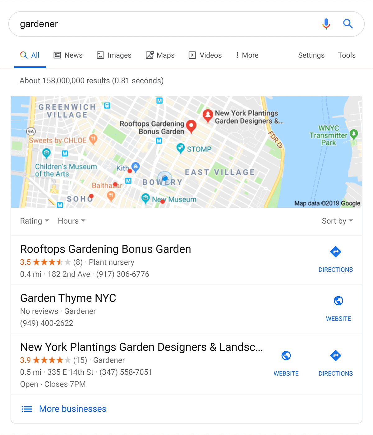 """Google Search for """"gardener"""" while located in NYC"""