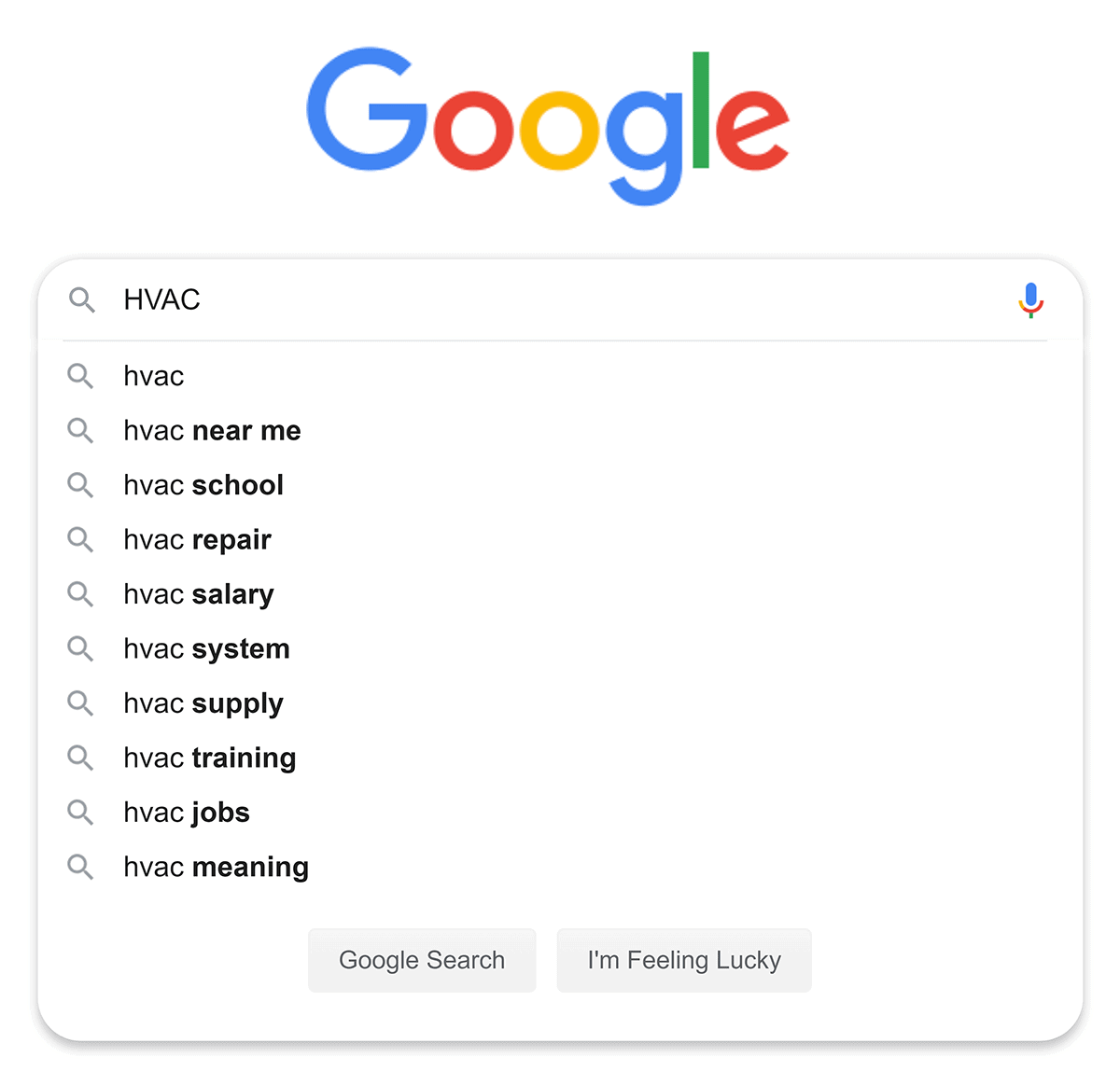 """Google suggestions for """"HVAC"""" search"""