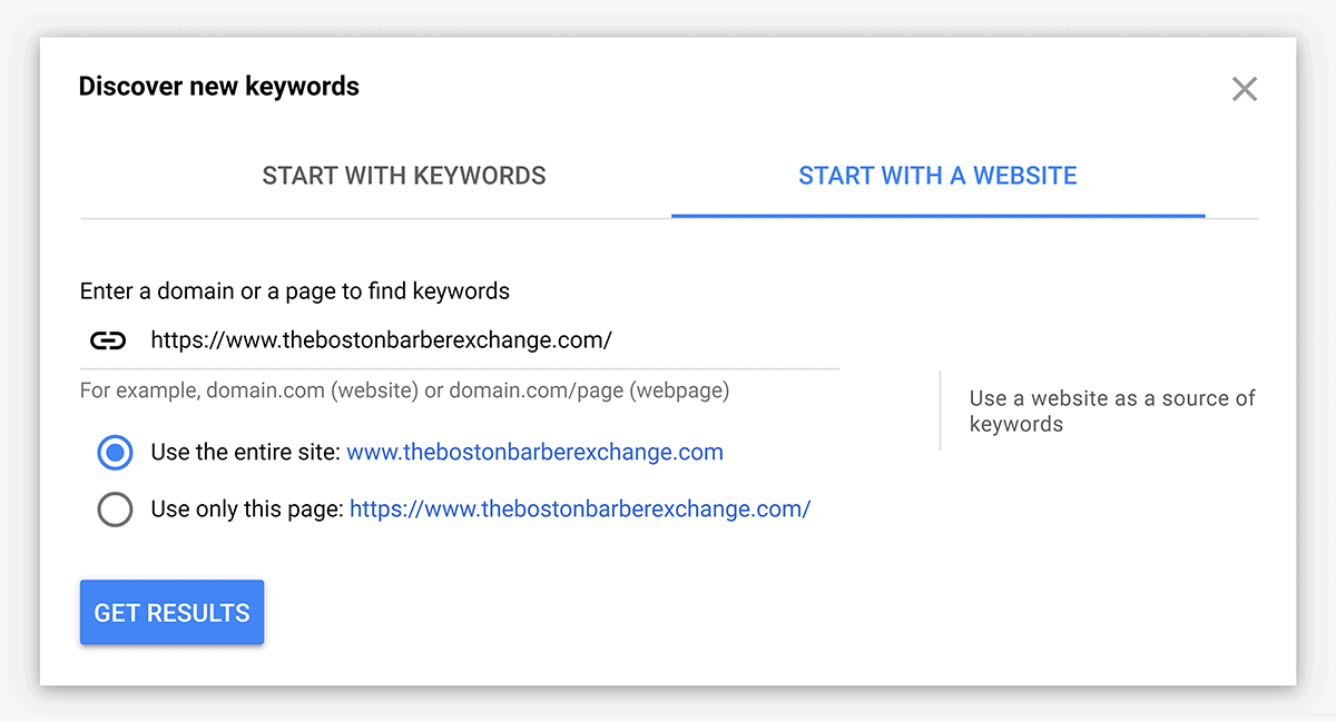 Keyword Planner – Start with a website search