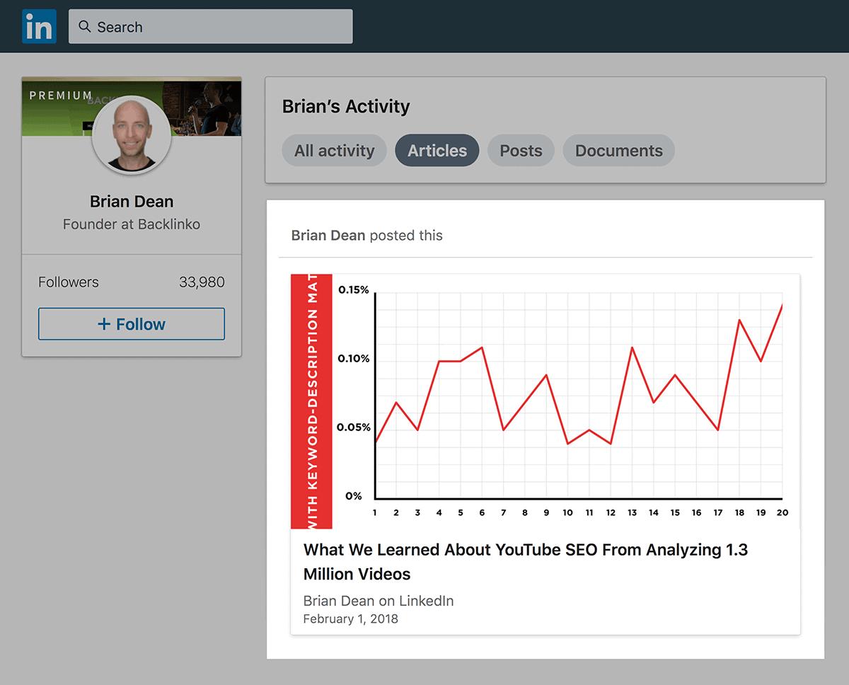 LinkedIn article share