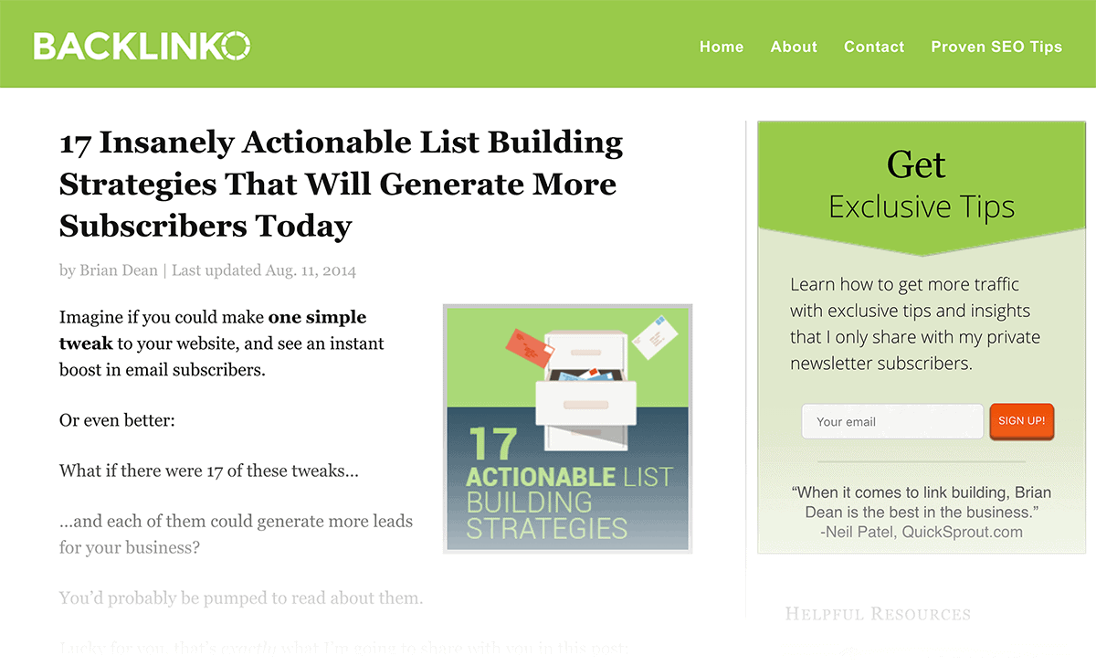 List Building post