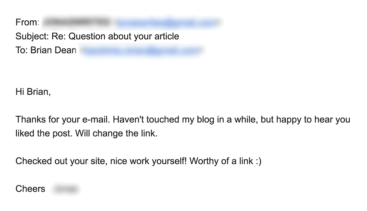 Outreach email response