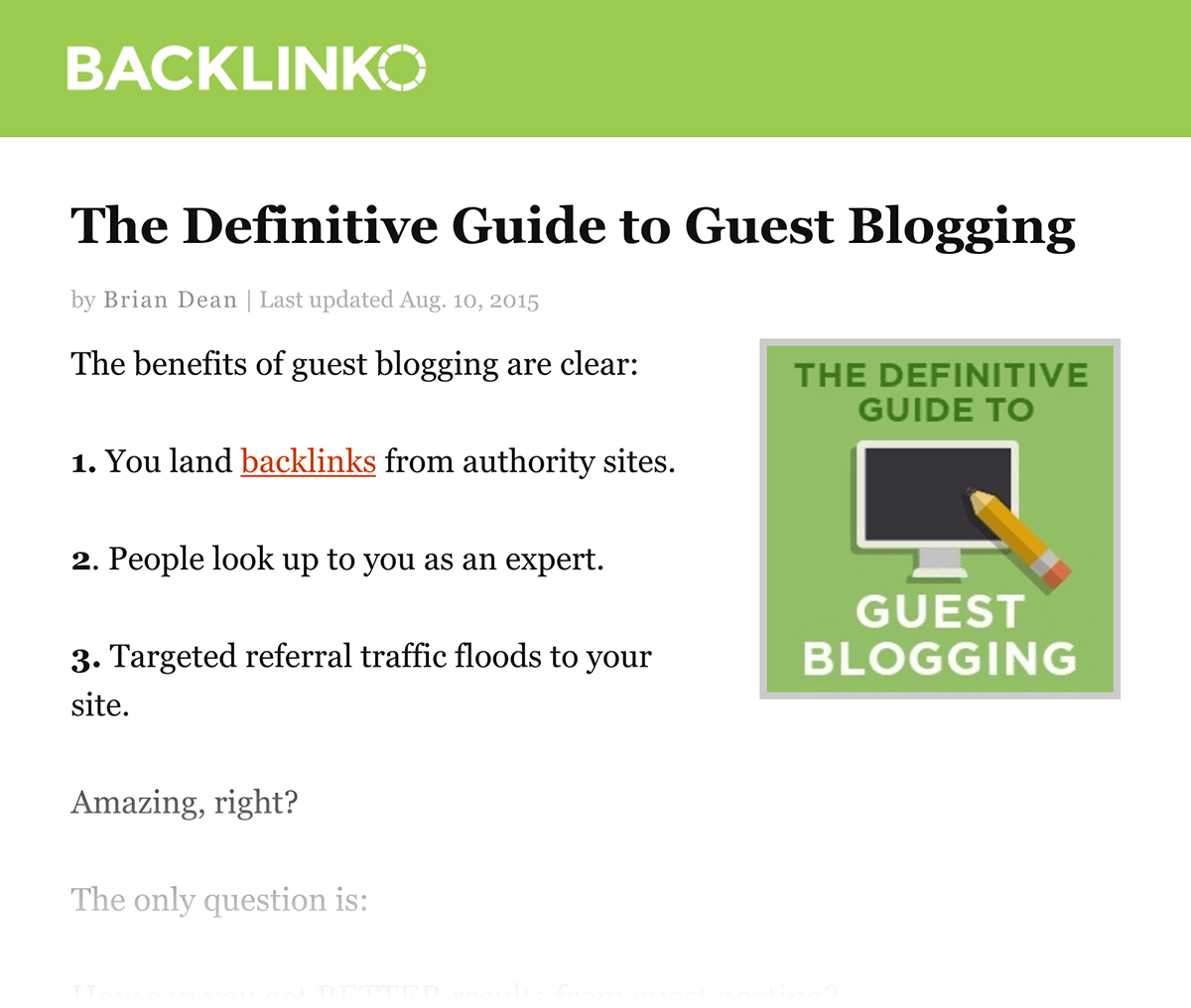 The Definitive Guide to Guest Blogging – Old version