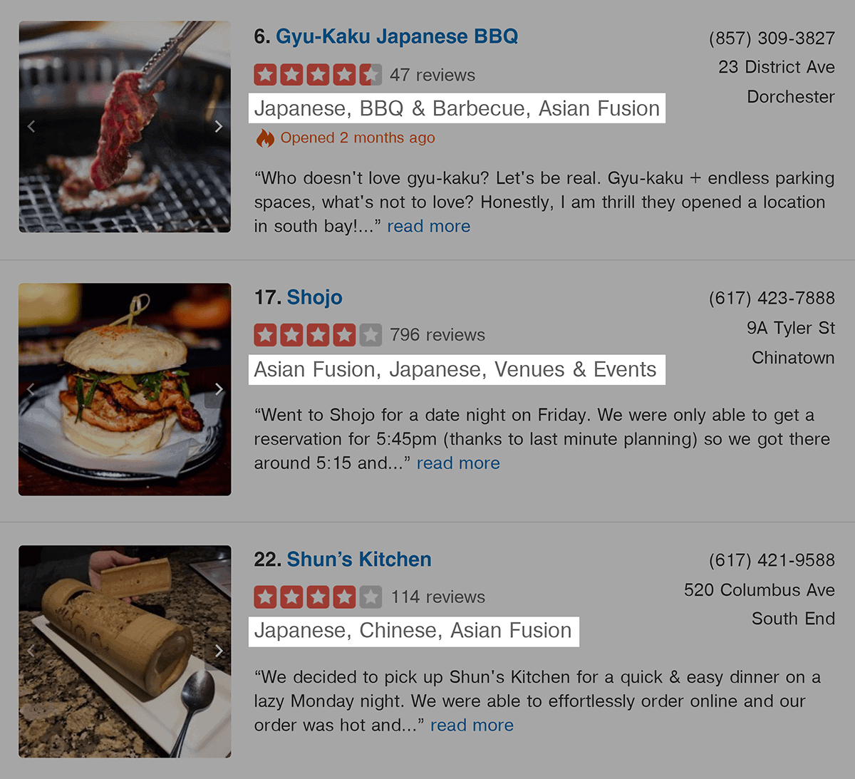Yelp results with Asian fusion suggestion