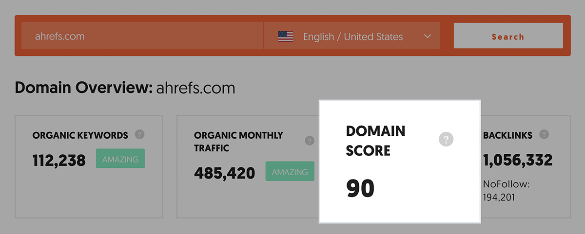 Ahrefs – Domain Score
