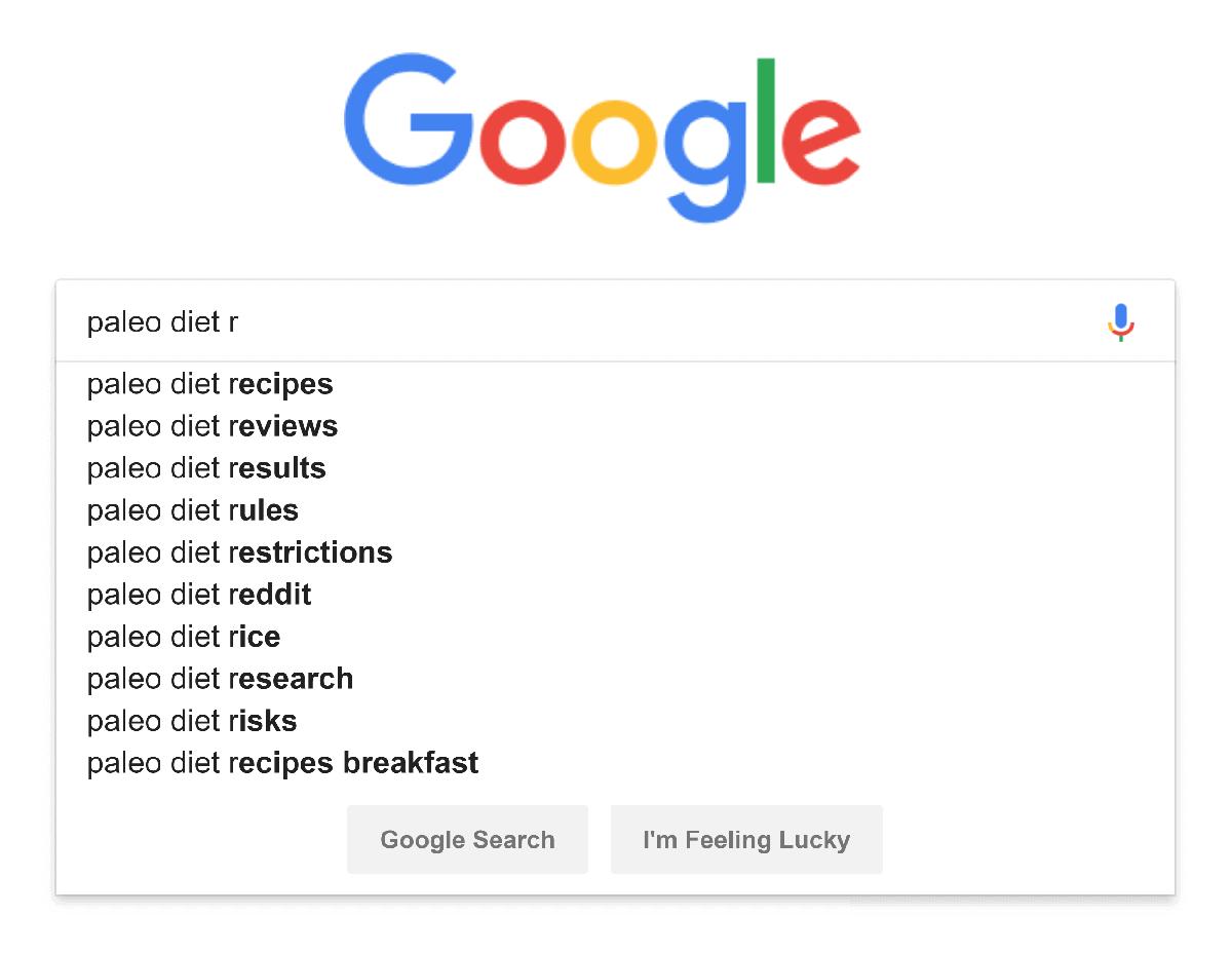 "Google – Autocomplete – ""paleo diet r"""