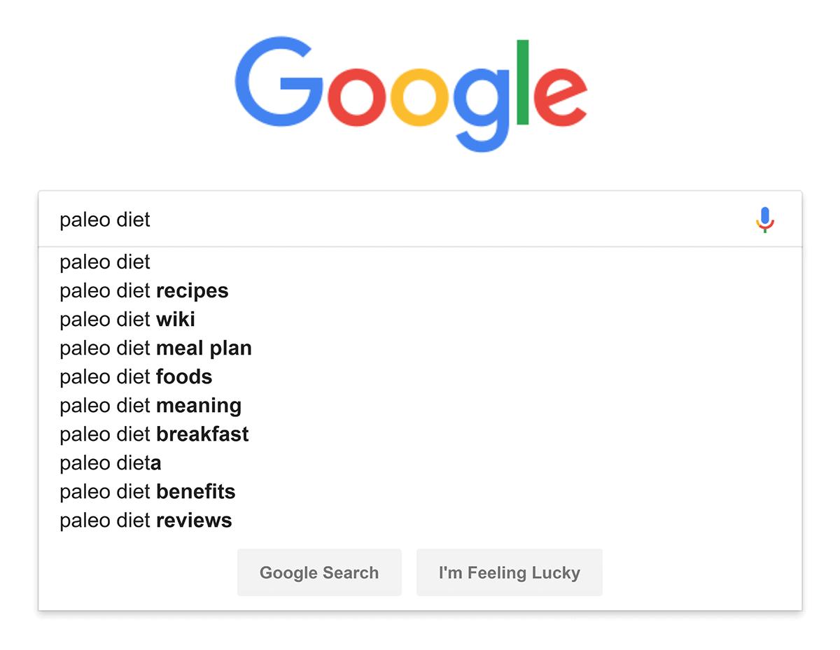 "Google – Autocomplete – ""paleo diet"""