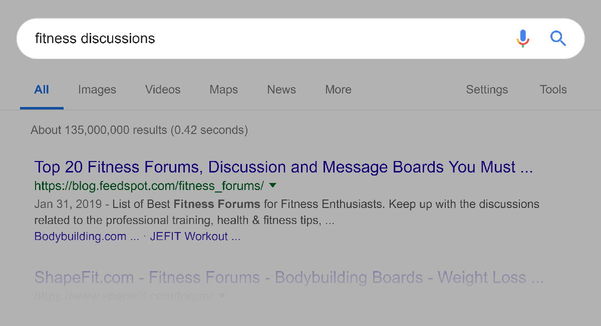 """Google search – """"fitness discussions"""""""