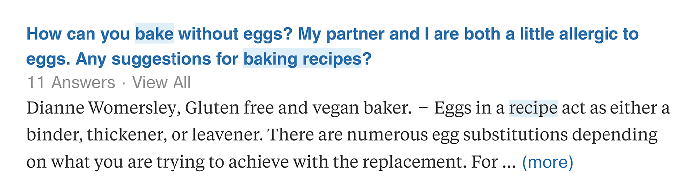 Quora – Bake without eggs