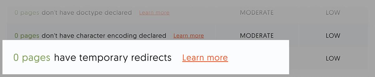 Ubersuggest - Verifica del sito - Raccomandazioni - Reindirizzamenti