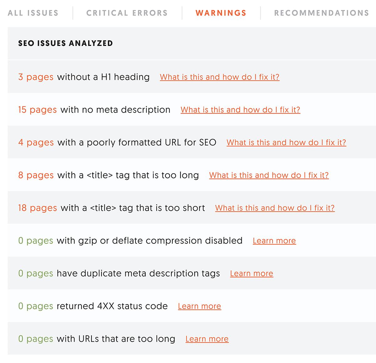 Ubersuggest – Site audit warnings