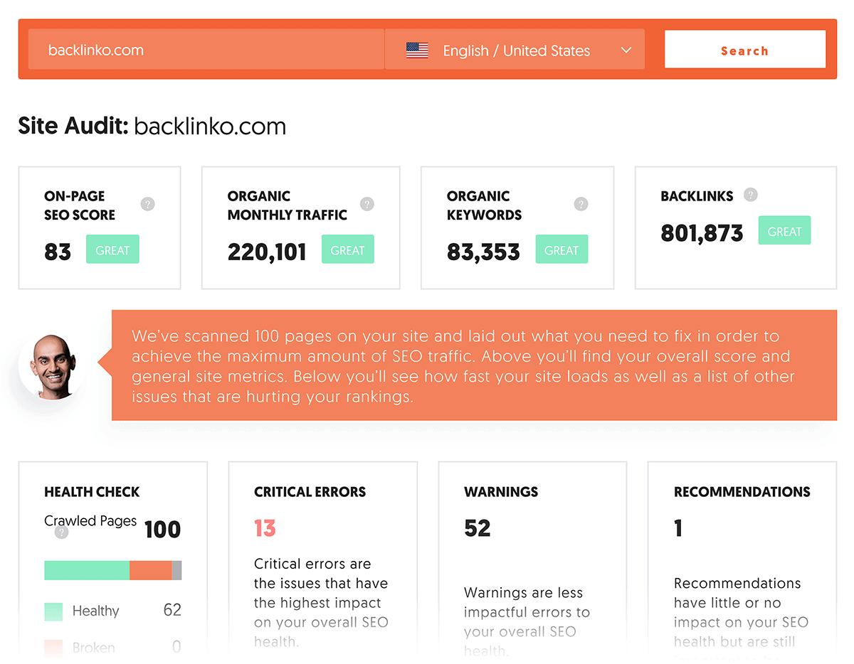 Ubersuggest – Site audit